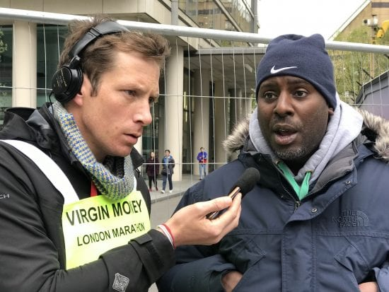 Stuart Lawrence being interviewed by Press for the London Marathon
